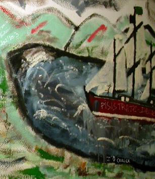 Fresque recouverte au rez-de-chaussée du bâtiment D)